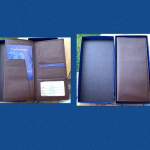 Leather Wallet Long Bifold Document Carry Folding